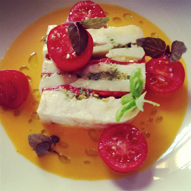 Fish-head terrine created the illusion of mozzarella when paired with tomato and basil in this wildly imaginative and playful interpretation of a classic caprese.