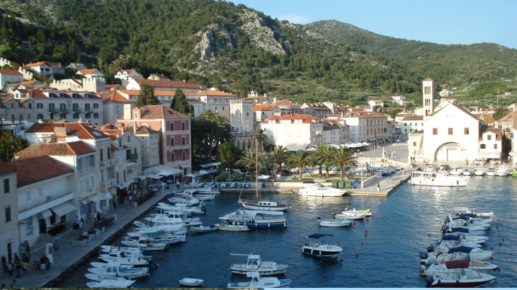 Busy harbor on the island of.Hvar, in the Adriatic