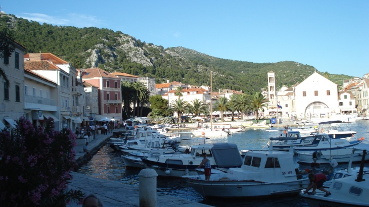 A scenic harbor in Hvar -- a glorious place to stop and sit and watch the world go by.