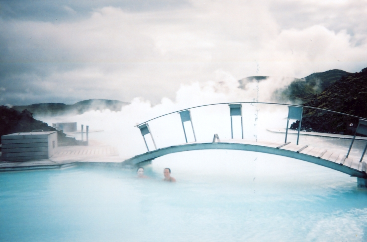 The ghostly Blue Lagoon geothermal spa. Sharyn Alden photo.