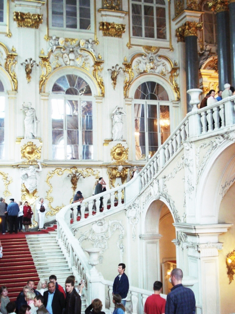 The famous Jordan Staircase at the Peterhof preserve.