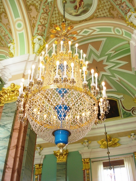A lavish chandelier in the Saints Peter and Paul Cathedral.