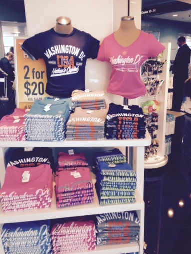 Shops at Reagan National always a great selection of politically themed -- or not -- shirts. (Sharyn Alden photo.)