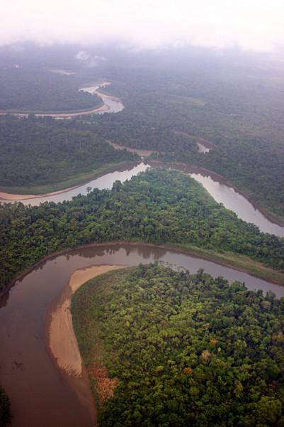 The Sepik River winds through the New Guinea jungles.